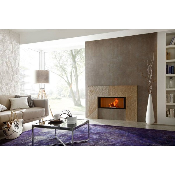 Linear Front 73x37 Varia ASh-4S, white chamotte, four sided solid frame, 37.1